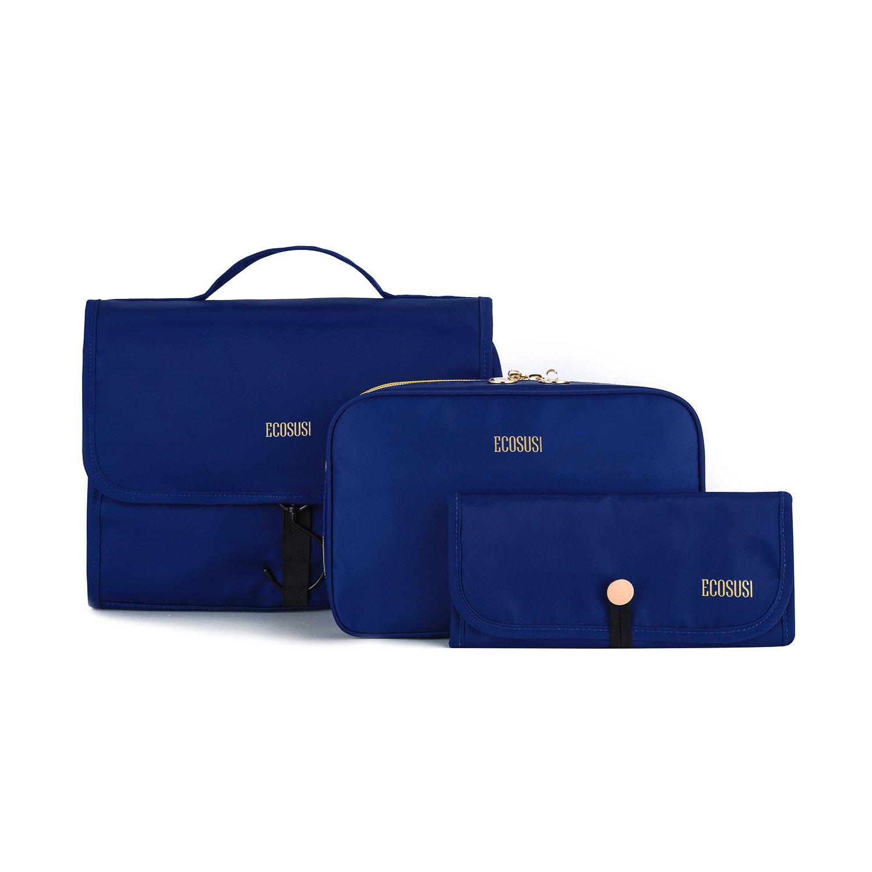ECOSUSI Travel Makeup Bag Hanging Toiletry Bag 3-in-1 Foldable Cosmetic Carryon Case, Dark Blue