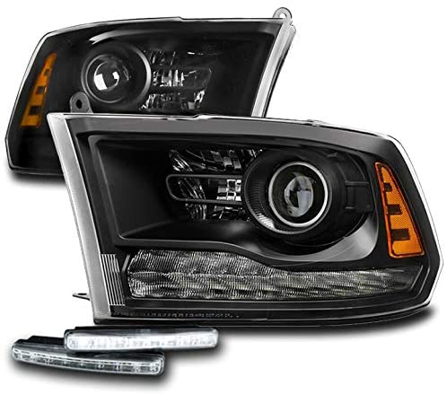 ZMAUTOPARTS Projector Black Headlights Headlamps with 6 White LED DRL Lights For 2013-2018 Dodge Ram 1500 2500 3500