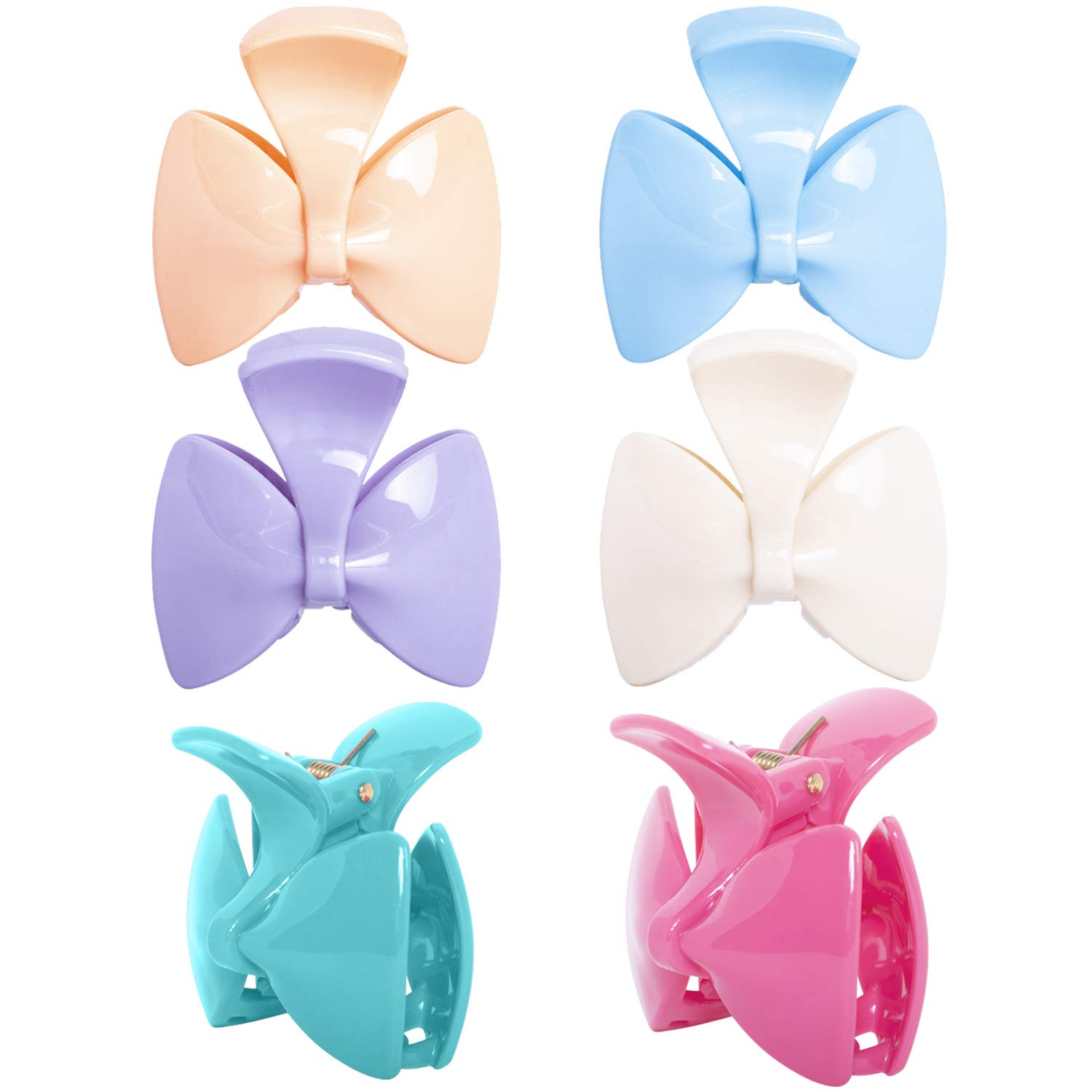 RC ROCHE ORNAMENT 6 Pcs Womens Cute Ribbon Bow Tie Jaw Claw Clamp Clutcher Inner Teeth Styling Sectioning Simple Fashion Beauty Accessory Multicolor Hair Clip, Medium Pastel Multicolor