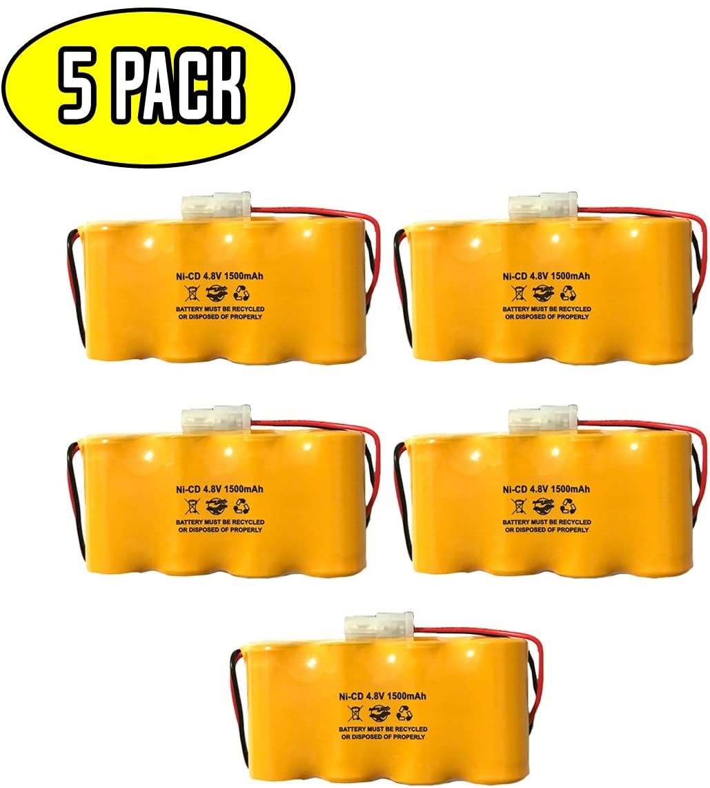 (5 Pack) Prescolite ELB0501N1 4.8v 1500mah NiCad Battery Lithonia ELB0501N ELB4814N Prescolite ENB048015 Dantona Custom-45 Pack Exit Sign Emergency Light