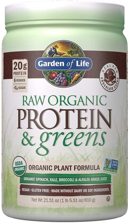 Garden of Life Raw Organic Protein & Greens Chocolate - 20 Servings, Vegan Protein Powder for Women and Men, Juiced Greens and 20g Plant Protein plus Probiotics & Enzymes, Gluten-Free Low Carb Shake