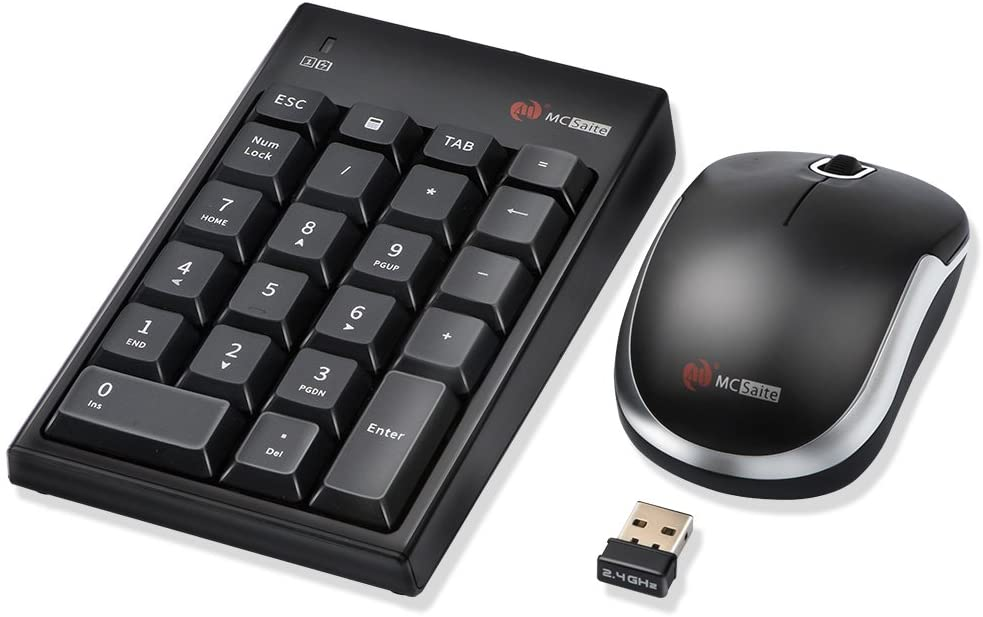 MCSaite Wireless Numeric Keypad & Mouse Combo - Use One Receiver Wireless Number Pad Keyboard and Mouse for Laptop Desktop MAC