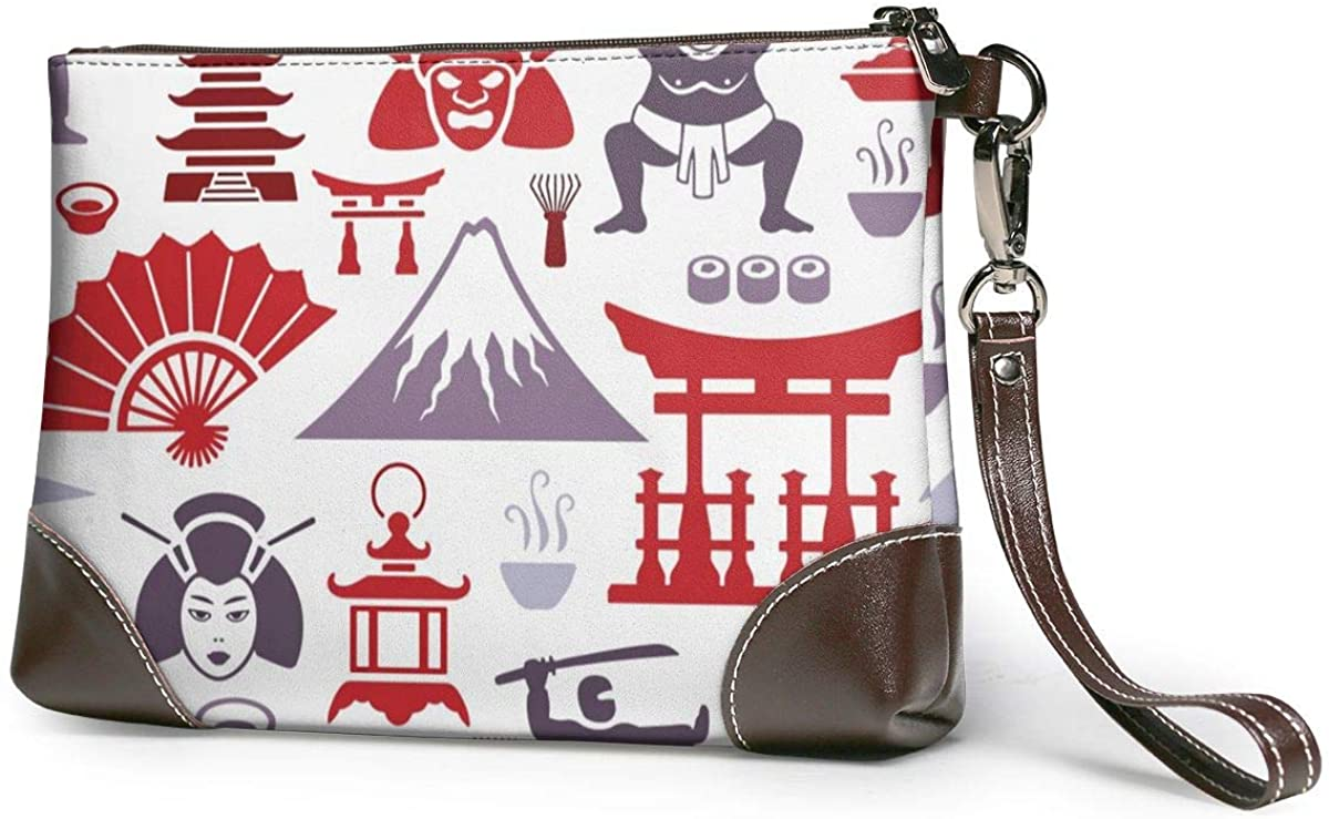 Japanese Pattern Leather Wristlet Clutch Bag Zipper Handbags Purses For Women Phone Wallets With Strap Card Slots