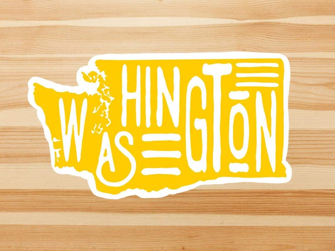 Washington State Outline Sticker, Laptop Sticker And Decal, Macbook Decal, Car Decal,Bottle Decal,Vinyl Decal With 4