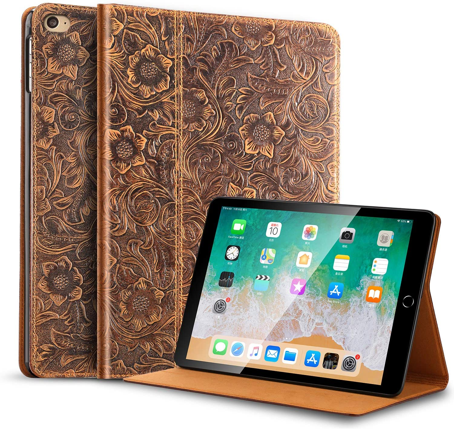 Gexmil for iPad 7.9 Inch mini4 Case, applies Cowhide Folio Cover for iPad mini3/2/1nd Generation Genuine Leather case,Pattern-Brown