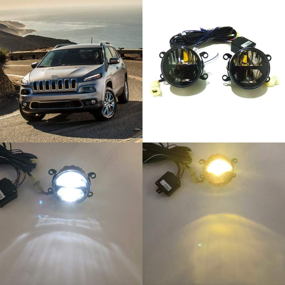 July King 24W LED Bifocal Fog Lamp Assembly for Jeep Cherokee Excluding Trailhawk 2014-2020, 6000K LED Day Running Lights DRL + 6000K High Beam + 4300K Yellow Low Beam