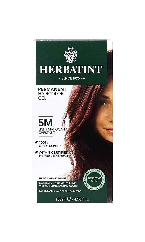 Herbatint Permanent Herbal Haircolor Gel, 5M Light Mahogany Chestnut, 4.56 Ounce