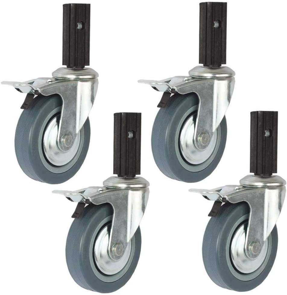 4X 100mm Swivel Caster/Brake Caster Combination,for Dining Carts,Shopping Carts,Soft Wheels,Silent and Wear-Resistant/B/Ordinary