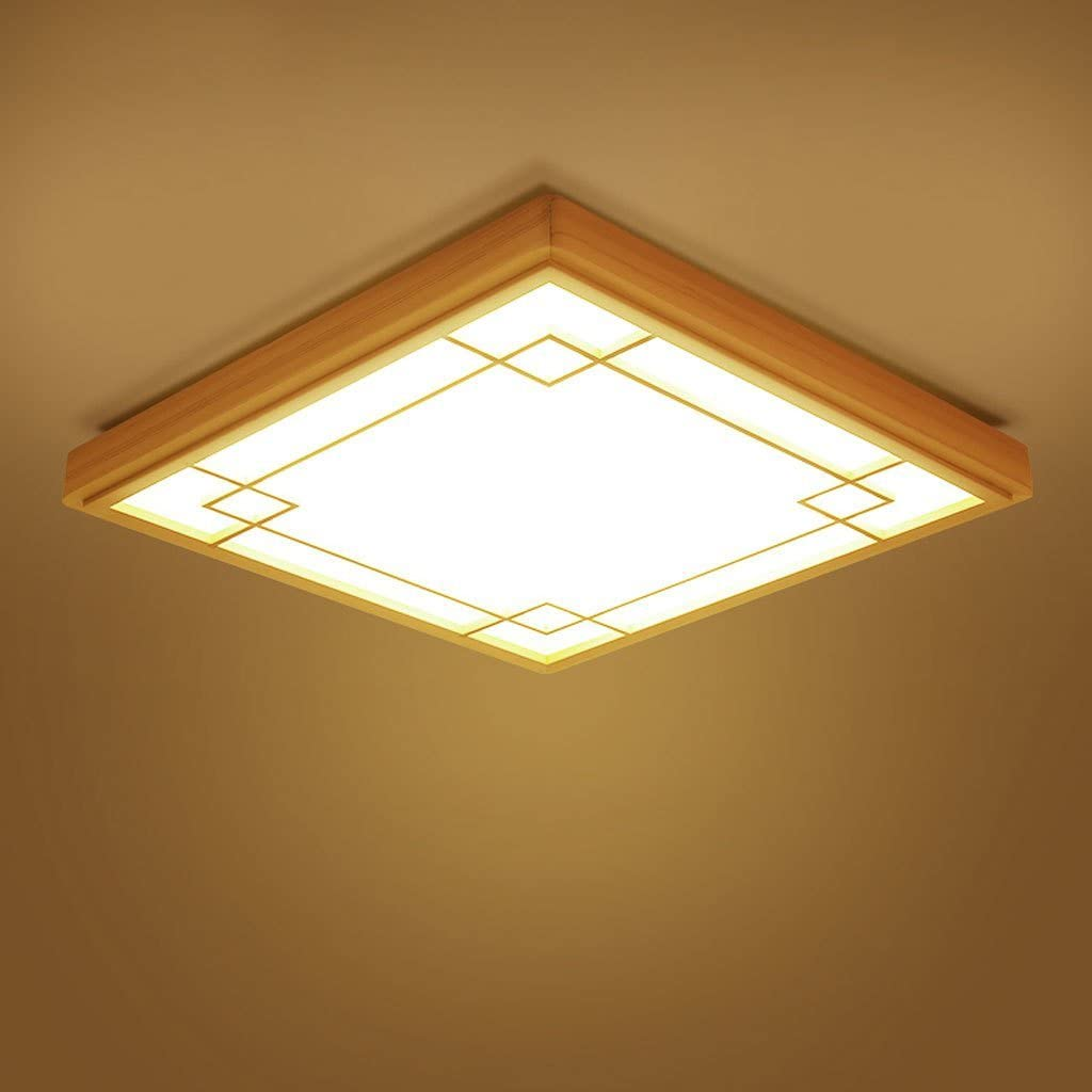 Japanese Minimalist Solid Wood Ceiling Lamps Bedroom Lamps Living Room lightsnew Chinese Restaurant led Lights (Size : 53x53cm)