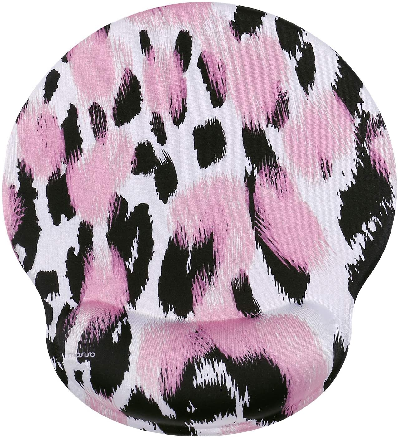 MOSISO Mouse Pad with Wrist Rest, Leopard Print Ergonomic Gaming Mousepad Gel Wrist Rest Support Home/Office/Working Easy Typing Cushion Non-Slip Rubber Base for Computer Laptop, Pink
