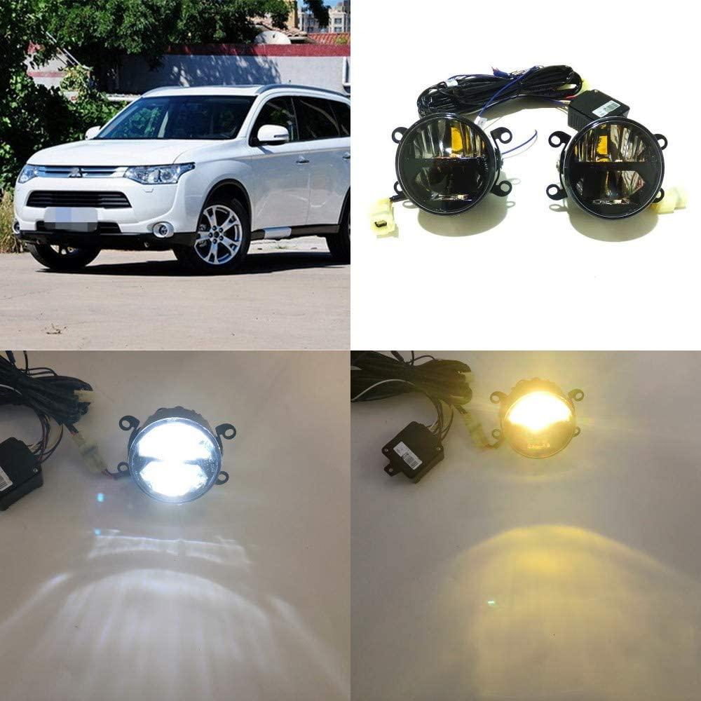 July King 24W LED Bifocal Fog Lamp Assembly for Mitsubishi Outlander 2008-2019, 6000K LED Day Running Lights DRL + 6000K High Beam + 4300K Yellow Low Beam