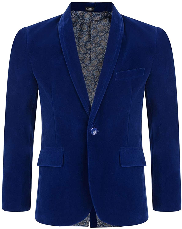 LOTMART Boy Velvet Blazer Kid Suit Jacket Paisley Lining Smart Casual Formal Coat 6M-15Y