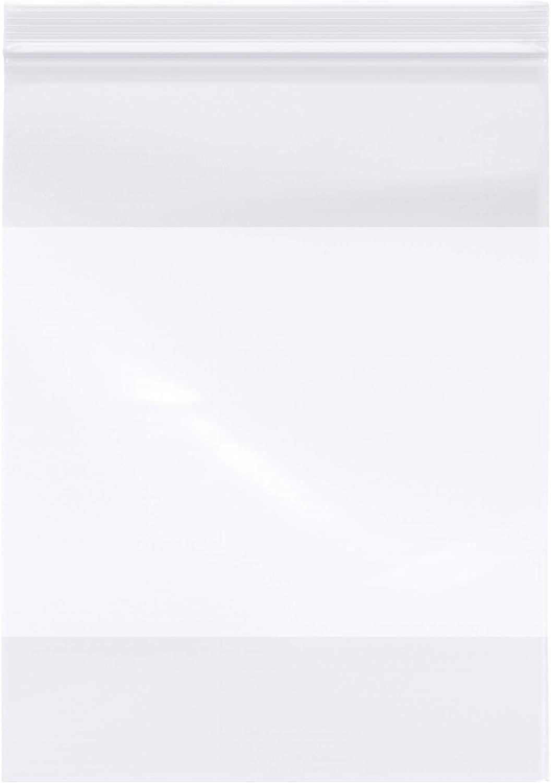 Plymor Heavy Duty Plastic Reclosable Zipper Bags w/White Block, 4 Mil, 9