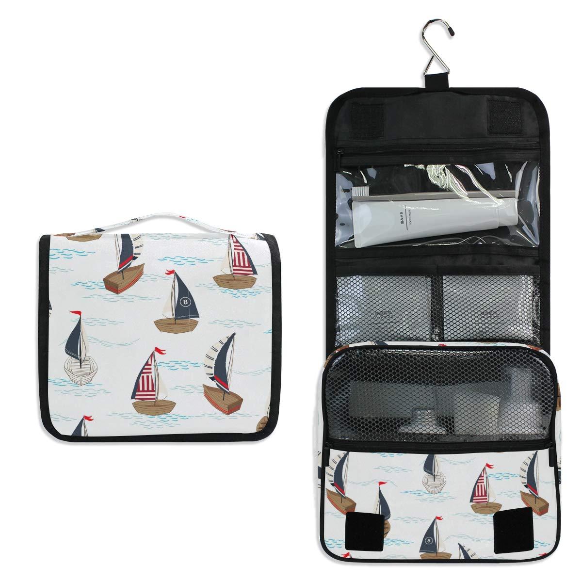 Toiletry Bag Travel Bag Hanging Hook - Summer Boat Beach Waterproof Cosmetic Bag Portable Makeup Pouch for Toiletries Bathroom