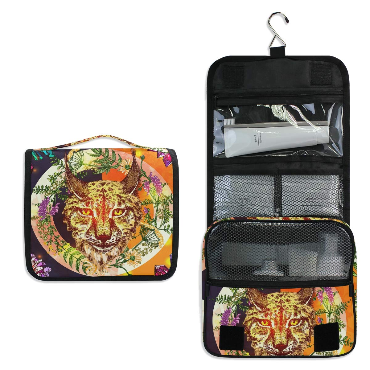 Hanging Travel Toiletry Bag - Illustration With Lynx Waterproof Cosmetic Bag Portable Makeup Pouch for Women Girls Men