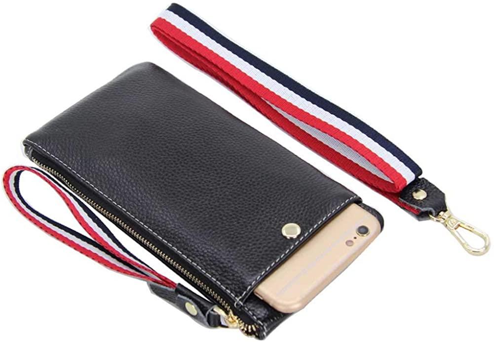 Women Smartphone Wristlet Clutch Handbag Case for iPhone XS XR [Detachable Neck Strap & Wrist Lanyard] Wallet Purse Pouch