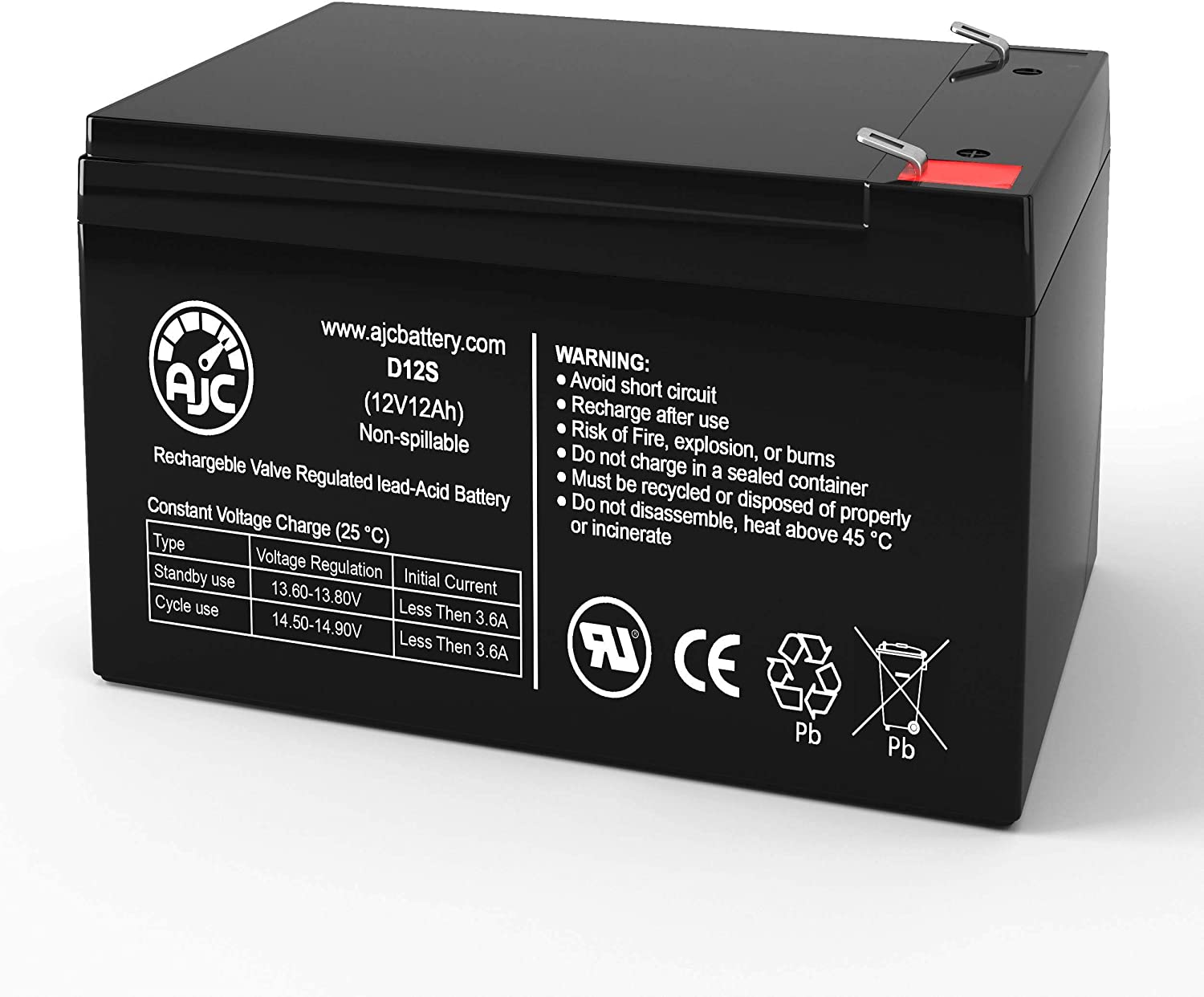 AJC Battery Compatible with Peg Perego Case Ih Power Scoop Tractor 12V 12Ah Ride-On Toys Battery