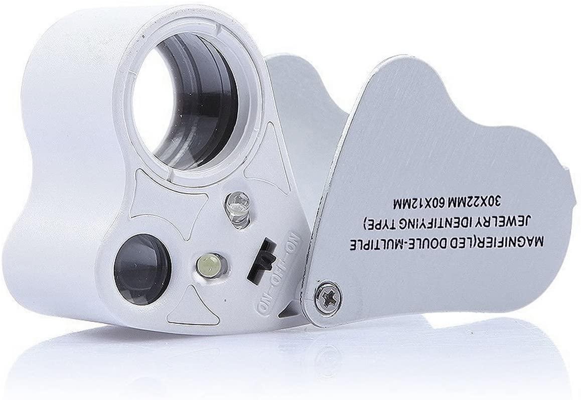 KINGMAS 2 Lens 30x 60x Illuminated Jewelry Eye Loupe Jewelers Magnifier Magnifying with LED Lighting