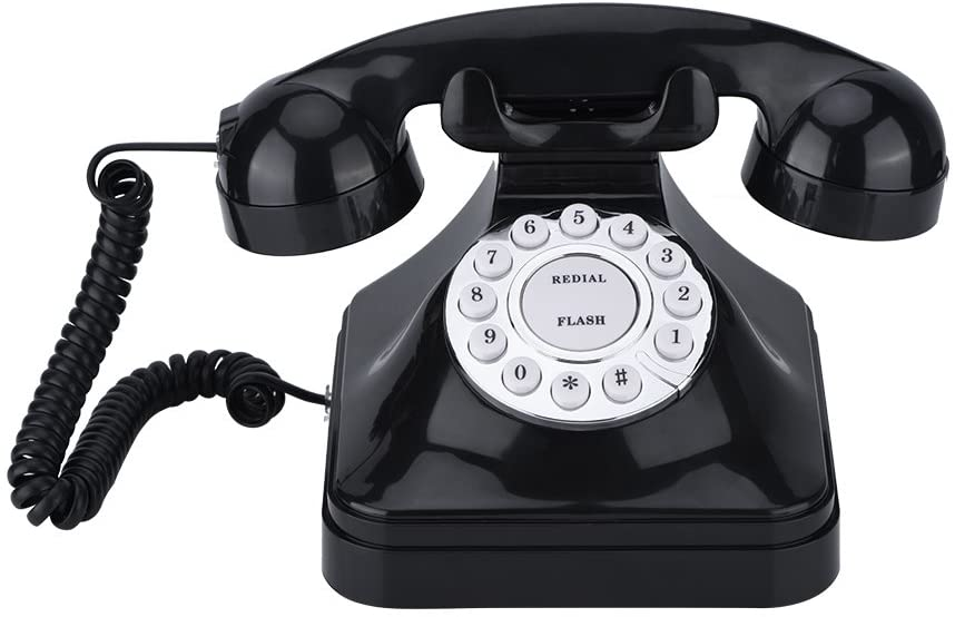 Corded Telephone,Retro Vintage Desktop Wired Landline Phone with Flash, Re-dial and Reserve Function for Home/Office Decoration, Old Fashioned Rotary Dial