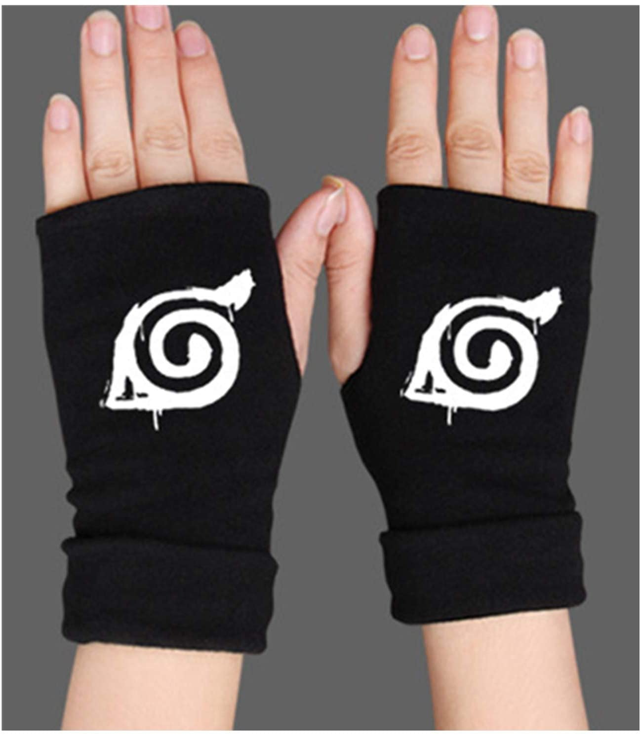 MUEKA Naruto Costume Fingerless Gloves Kakashi Cosplay Costume Ninja Gloves Naruto Costume Black Leather Gloves for Girl boy (Blcak)