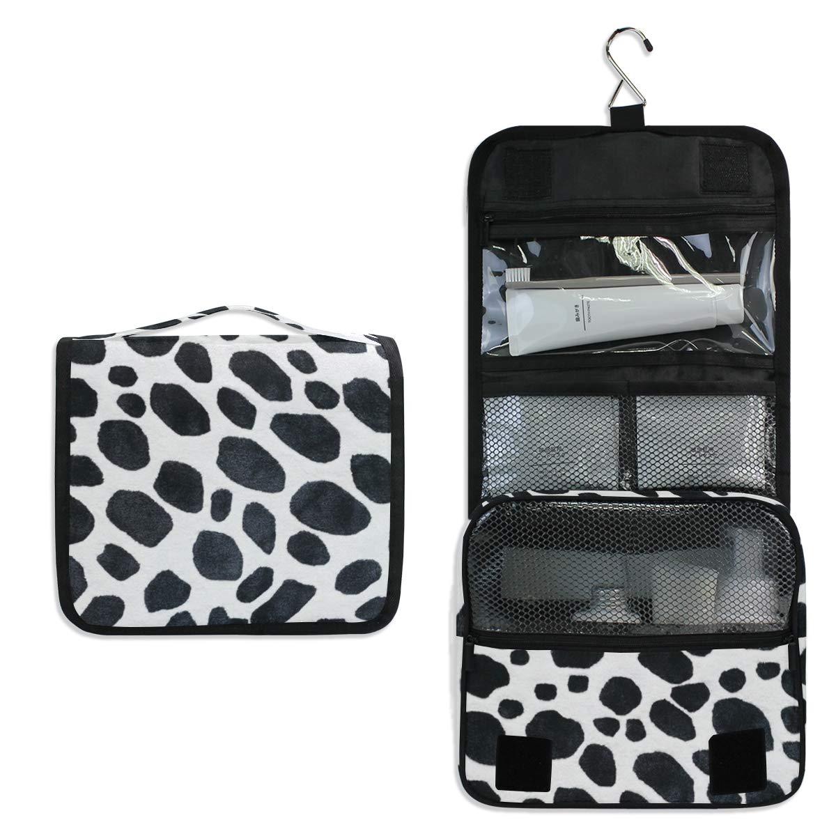 Toiletry Bag Travel Bag Hanging Hook - Dalmatian Spots Waterproof Cosmetic Bag Portable Makeup Pouch for Toiletries Bathroom