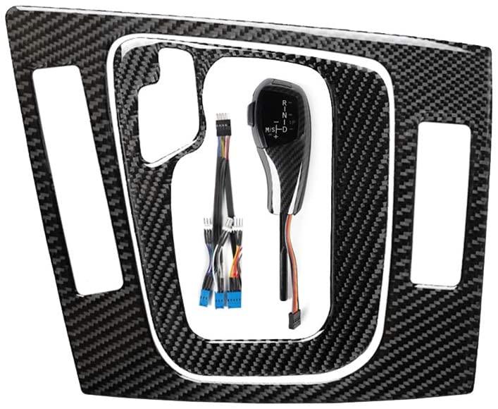 LED Gear Shift Knob with Trim Gear Cover Knob, Automatic Stick Shift Knob LED Carbon Fiber Gear Car Shift Head Knob Shift Lever Fit for BMW E46 E60 E61 E63 E64