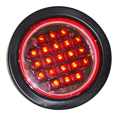 North American Signal LEDR-R LED Grommet Mount Round Warning Light, Red