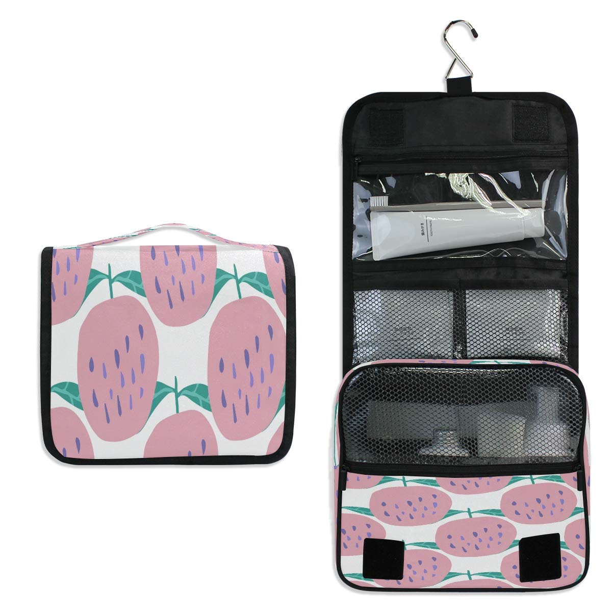 Hanging Toiletry Bag, Apples Waterproof Quilted Wash Gargle Bag Portable Travel Bathroom Shower Bags Deluxe Large Makeup Brush Case Capacity Pouch for Men and Woman
