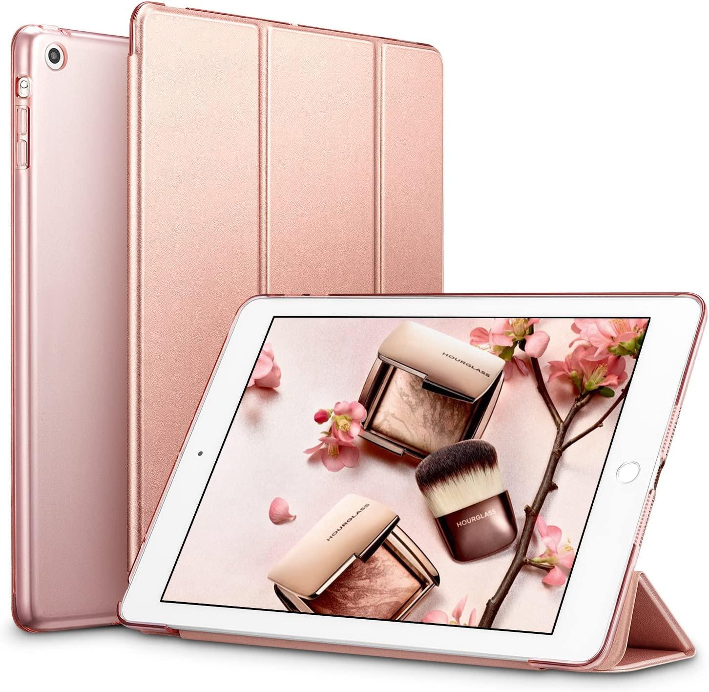ESR Yippee Trifold Smart Case for iPad Mini 1/2/3, Lightweight Trifold Stand Case with Auto Sleep/Wake, Microfiber Lining, Hard Back Cover for iPad Mini 1/Mini 2/Mini 3, Rose