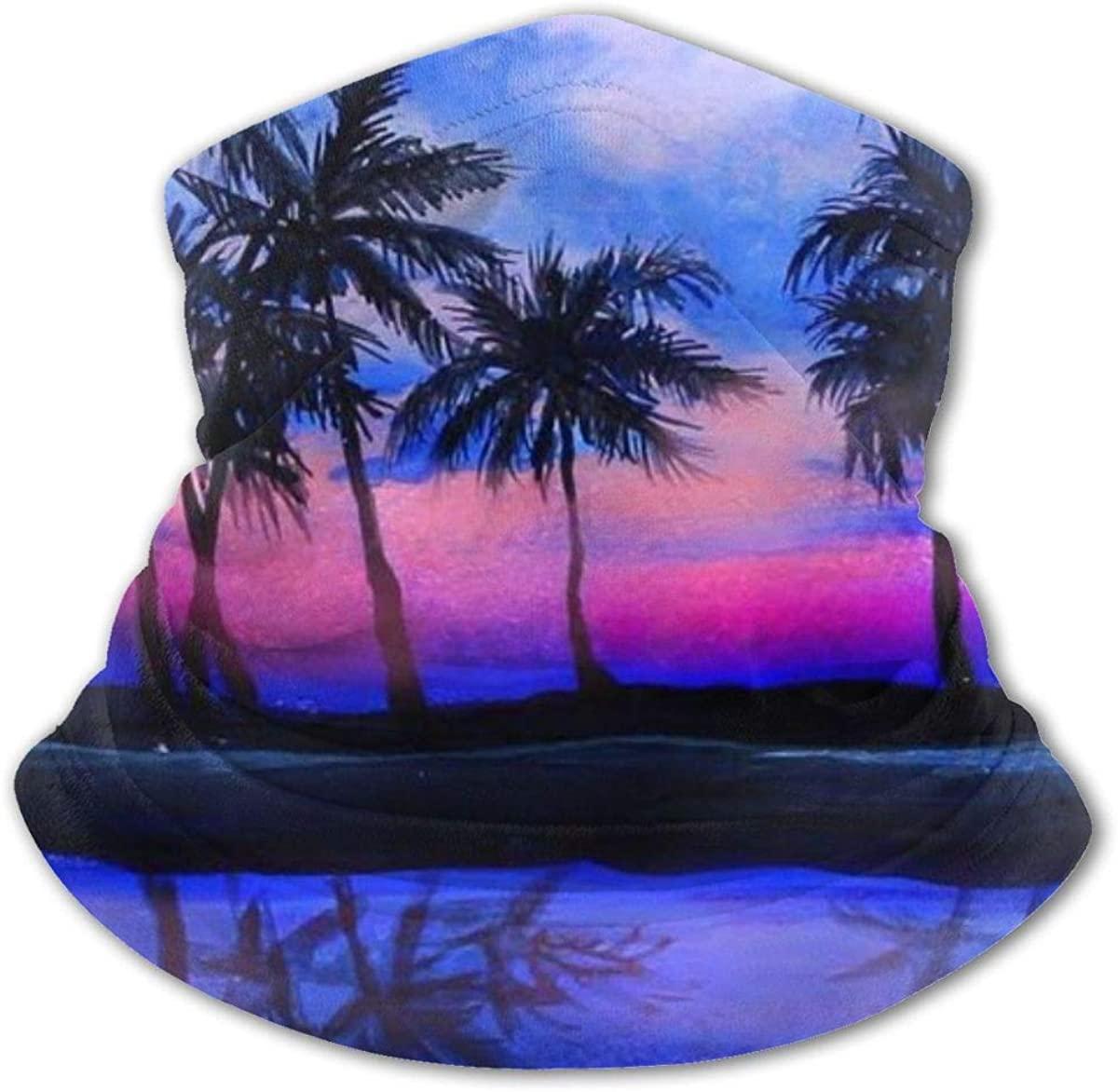 Sunset And Palm Tree Headwear For Girls And Boys, Head Wrap, Neck Gaiter, Headband, Tenn Fishing Mask, Magic Scarf, Tube Mask, Face Bandana Mask For Camping Running Cycling