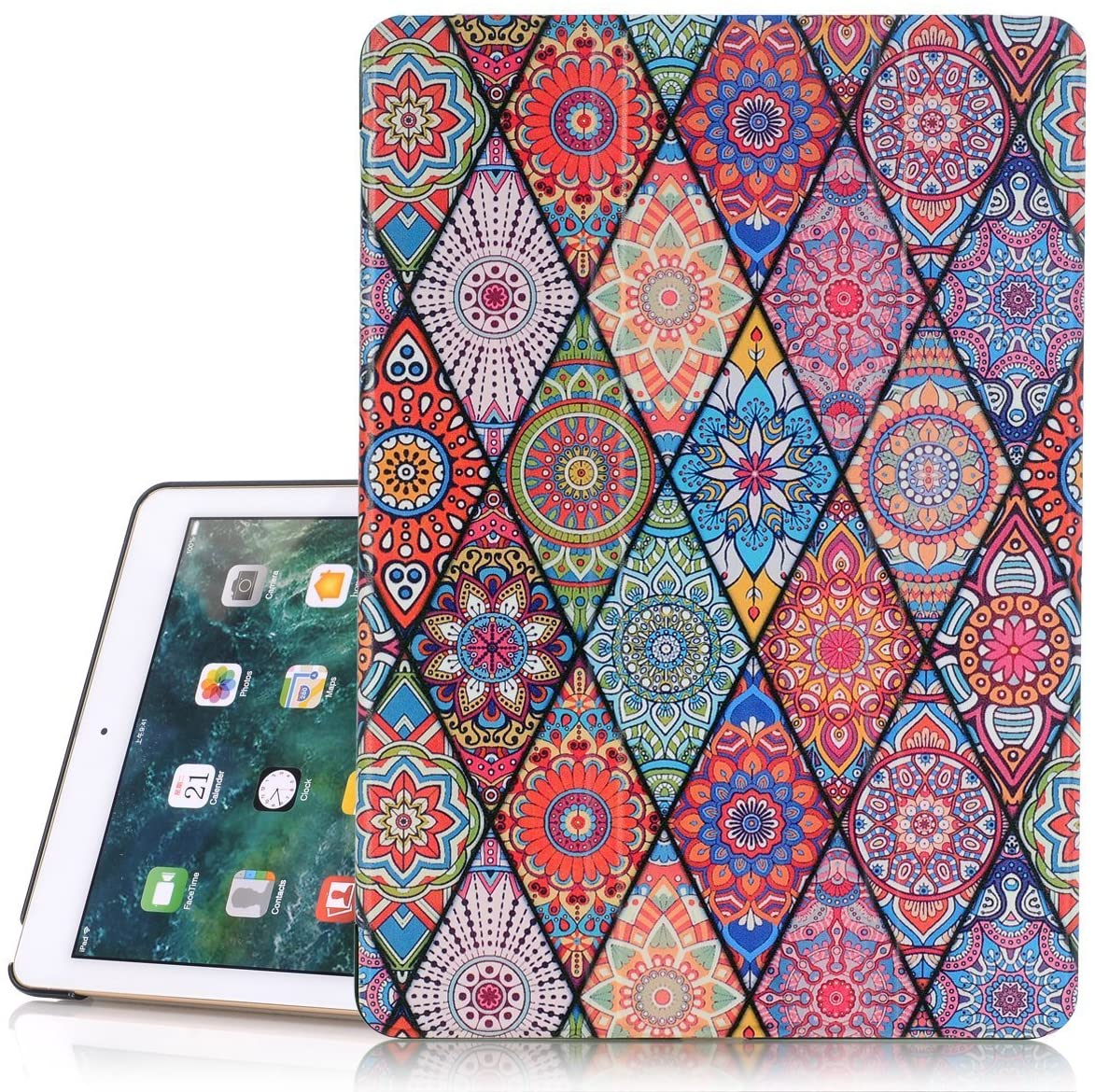 iPad 6th/5th Generation Case, Hocase PU Leather Smart Case w/Cute Flower Design, Auto Sleep Wake Feature, Microfiber Lining Hard Back Cover for iPad A1893/A1954/A1822/A1823 - Mandala