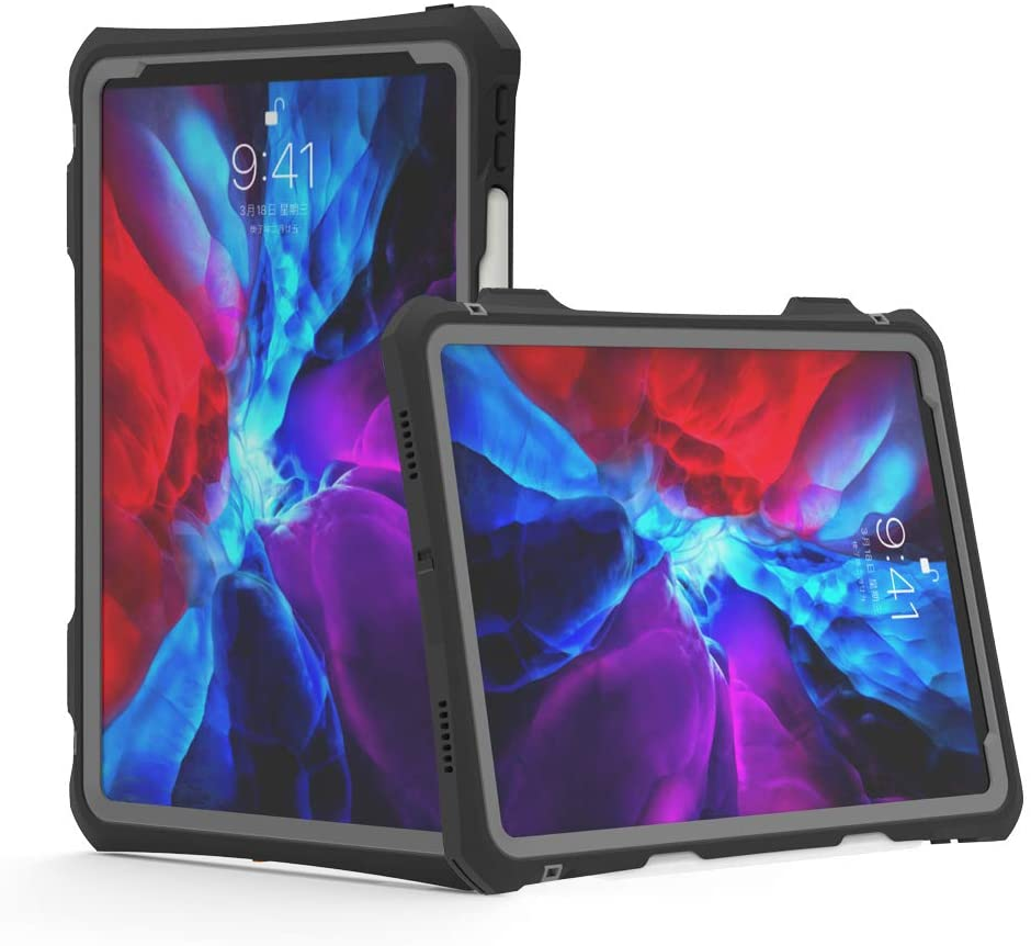 New iPad Pro 11 inch 2020 Waterproof Case,Shockproof Dropproof Built in Pen Holder High Touch Sensitivity with Ring Kickstand Hand Rope for Apple iPad Pro 11 2020 2nd Generation