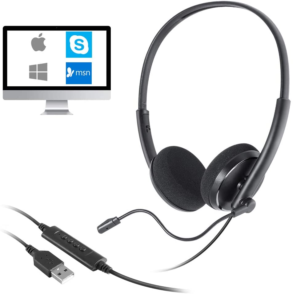 C3220 USB Double-Sided Phone Headset with Microphone, Used for Business Skype, Home, Call Center, Office, Video Conference, Computer, Laptop, PC, Soft Phone, Telephone, Noise Reduction Phone Headset
