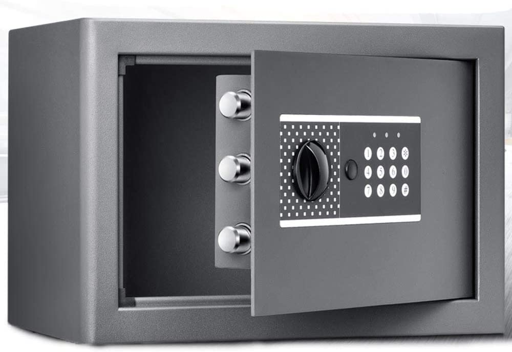 PUEEPDEE Safe Box Electronic Digital Solid Steel Safe Box with Digital Keypad for Home Office Hotel Jewelry Cash Storage Includes Safe Box for Money (Color : Silver, Size : 25.8x37x25cm)