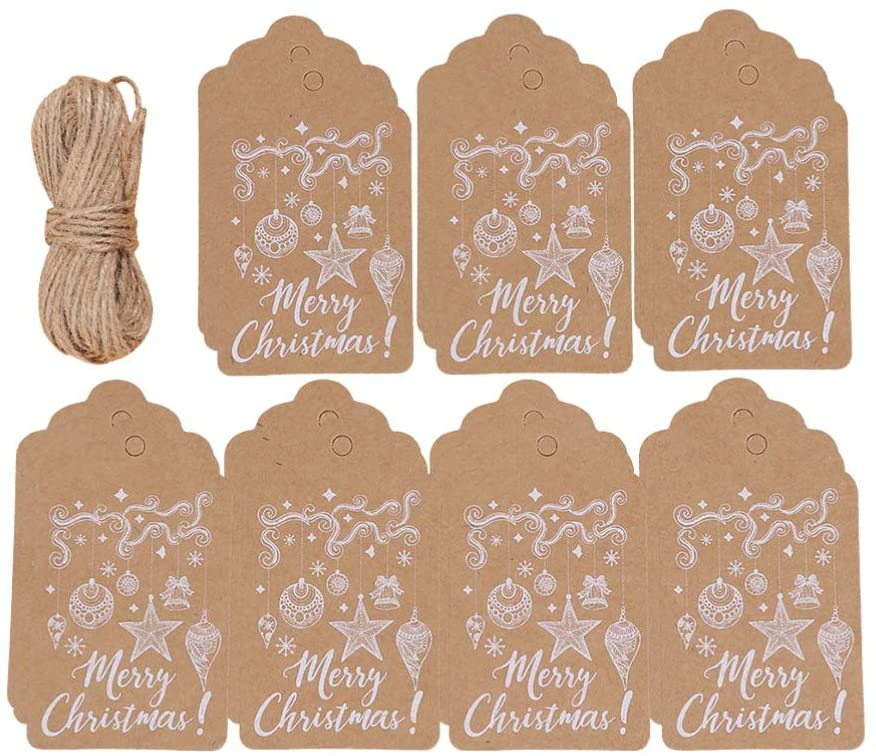 NUOBESTY 100Pcs Christmas Gift Tags Kraft Paper Gift Label Tags Christmas Gift Wrapping Labels Tags with 10M Rope