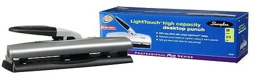 Swingline LightTouch Desktop Paper Punch, Black/Silver