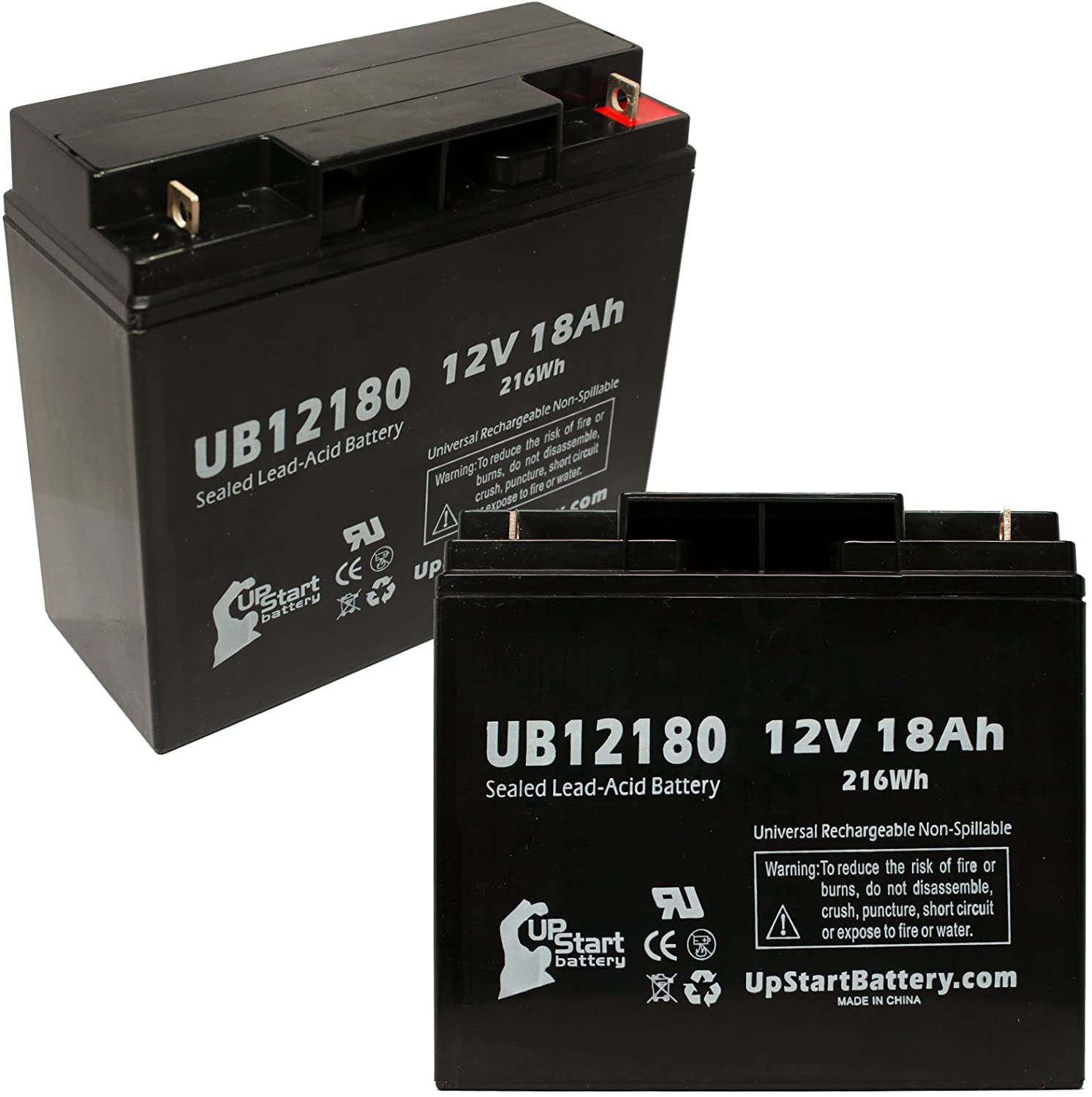 2 Pack Replacement for Datascope ORT Balloon 95 Intra AORT Battery - Replacement UB12180 Universal Sealed Lead Acid Battery (12V, 18Ah, 18000mAh, T4 Terminal, AGM, SLA)