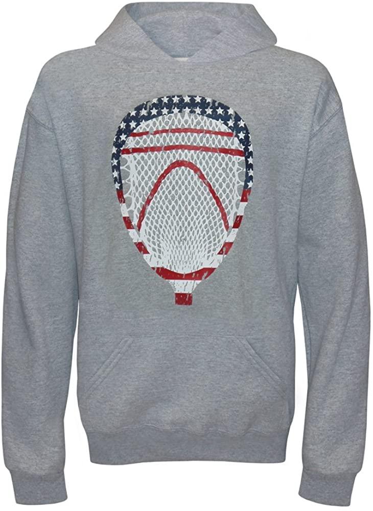 Y3K Sports Boy's Youth American Flag Lacrosse Goalie Head Hoodie Sweatshirt-USA