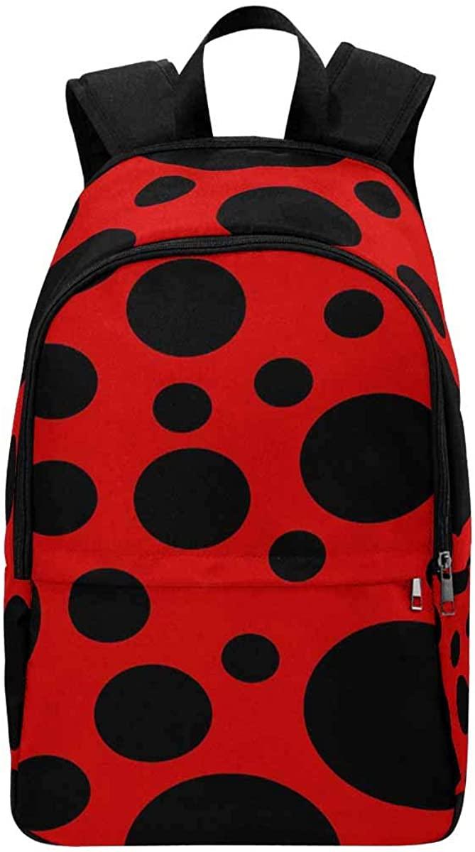 InterestPrint Ladybug with Leaves School Backpack Girls Teens Bookbags