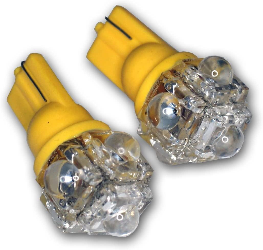 TuningPros LEDLP-T10-Y5 License Plate LED Light Bulbs T10 Wedge, 5 Flux LED Yellow 2-pc Set