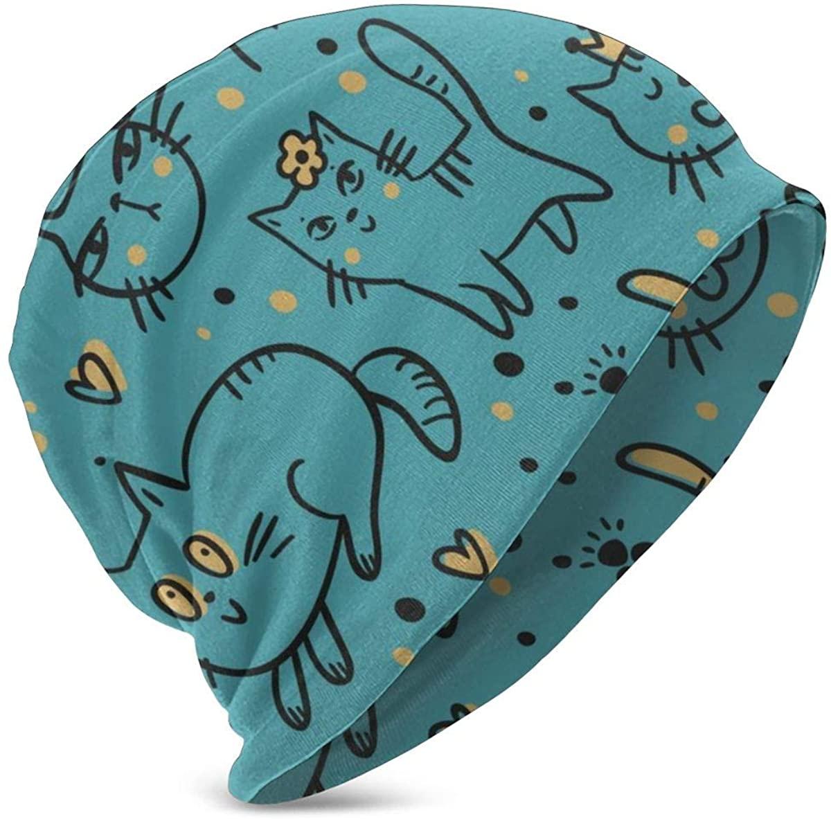 PETER HONG Teen Girls Boys Beanie Hat, Cuff Cap, Skull Hat, Dome Cap Daily Hat(Cute Leisurely Cats Kitten )
