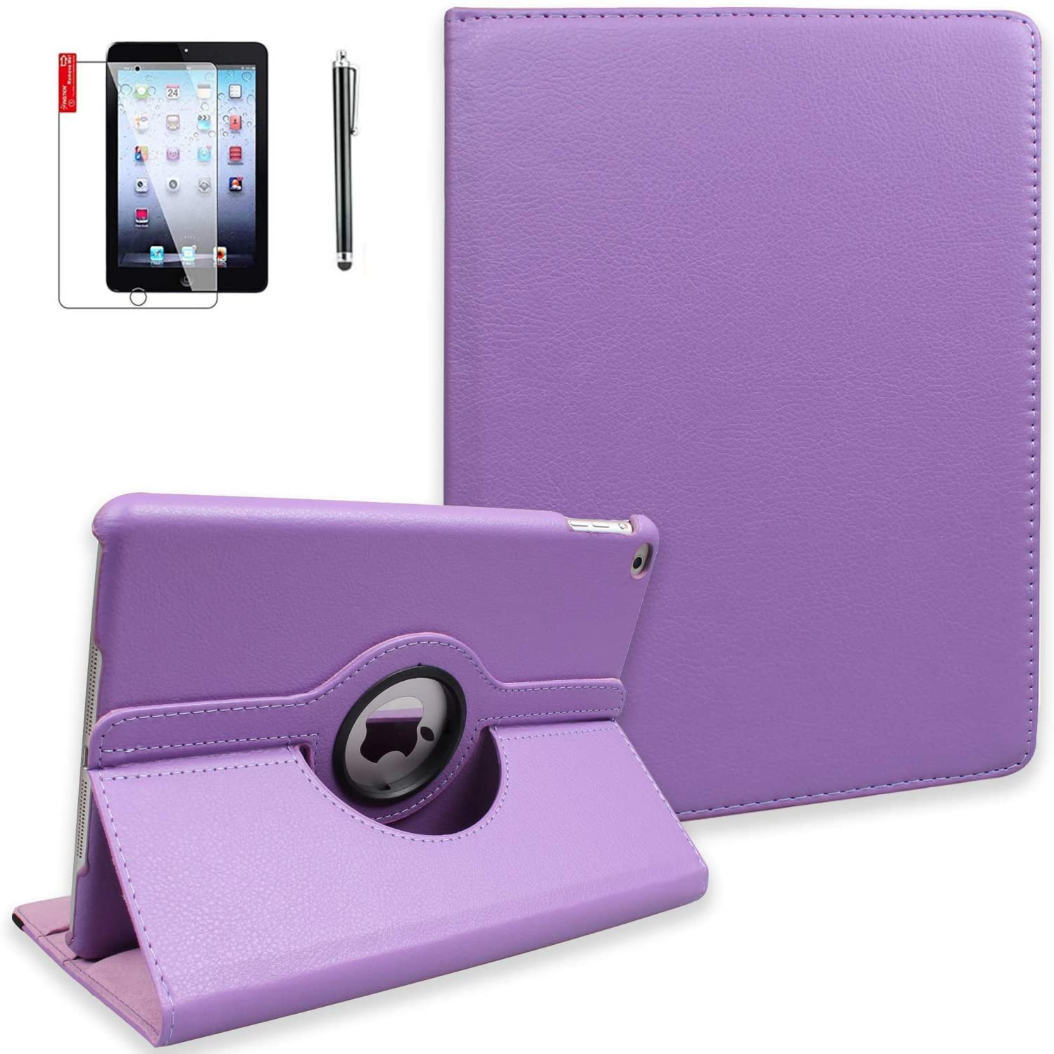iPad 9.7 inch 2nd 3rd 4th Generation Case with Screen Protector and Stylus - Model A1395 A1416 A1458-360 Degree Rotating Stand, Auto Sleep Wake, Shockproof, Scratchproof -MD510LL/A (Light Purple)