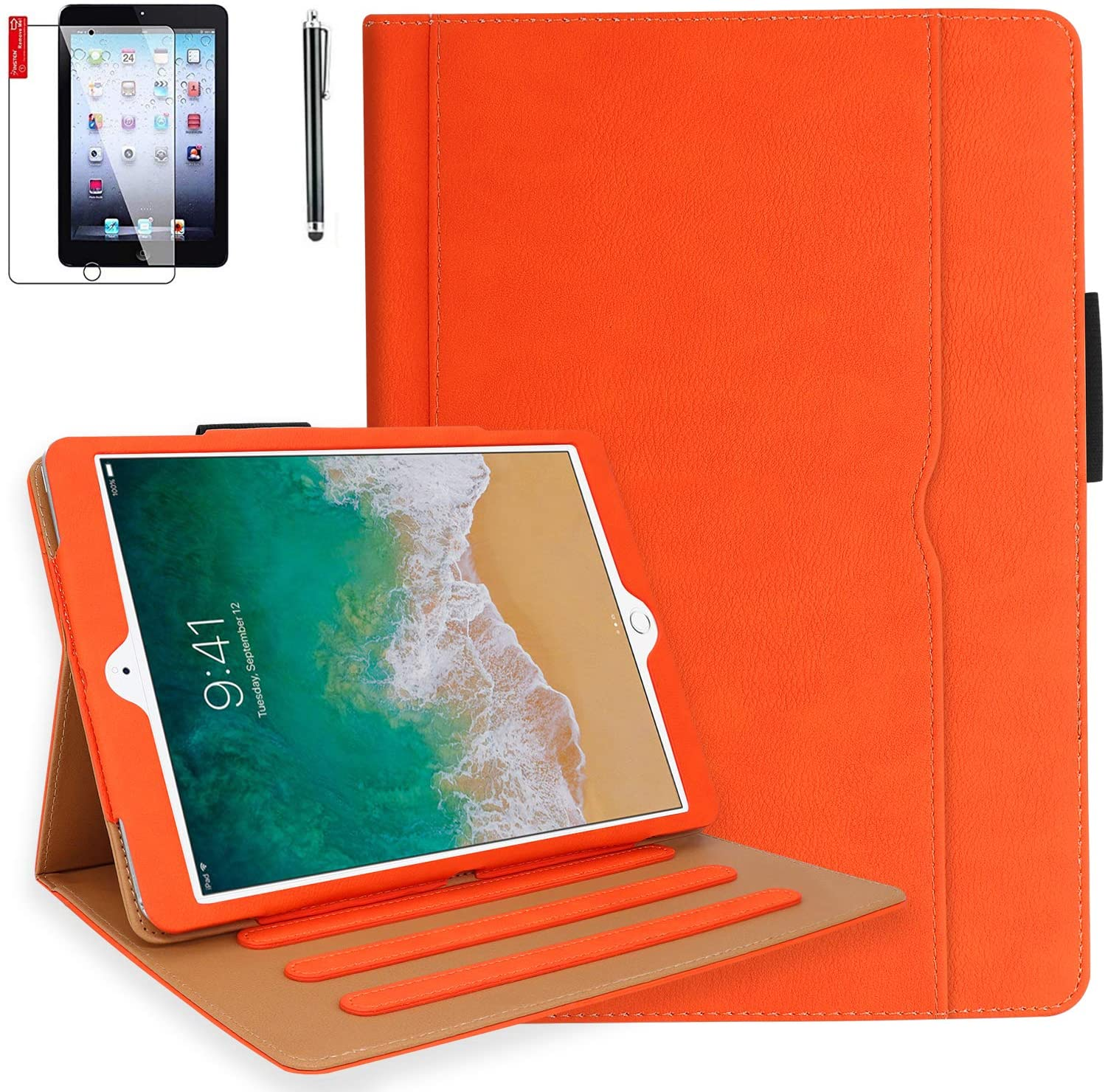 iPad Pro 10.5 Case, iPad Air 3 Case with Pencil Holder, Bonus Screen Protector and Stylus - Multi-Angle Stand, Hand Strap, Auto Sleep/Wake for iPad Air 3rd Generation, iPad Pro 10.5(Orange)