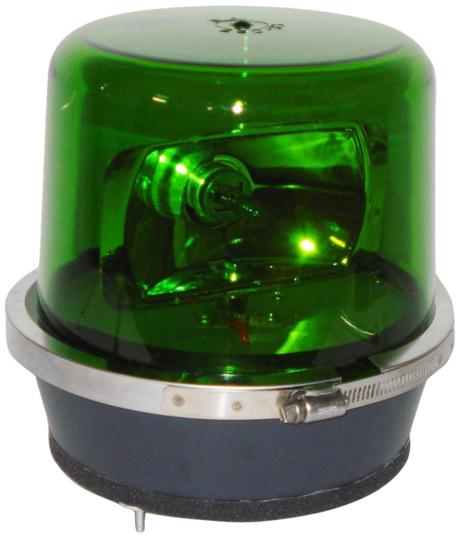 North American Signal 112HR-24G Halogen Rotating Beacon, Permanent Mount, Green