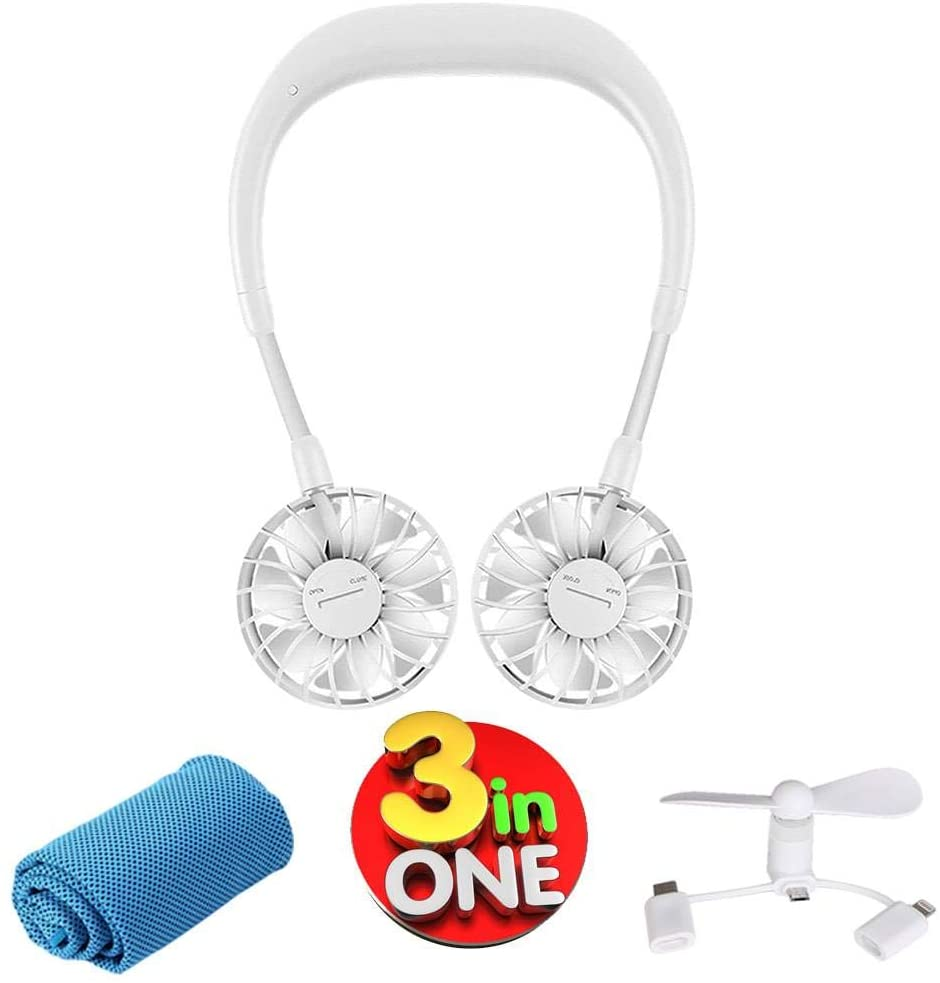 Personal Neck Fan (inc: Cell Phone Fan + Cooling Towel) Hands Free Wearable Portable Usb Necklace Neckband Rechargeable Battery 3 Speeds 360 Degree Rotation Sports Outdoor Travel Office Aromatherapy
