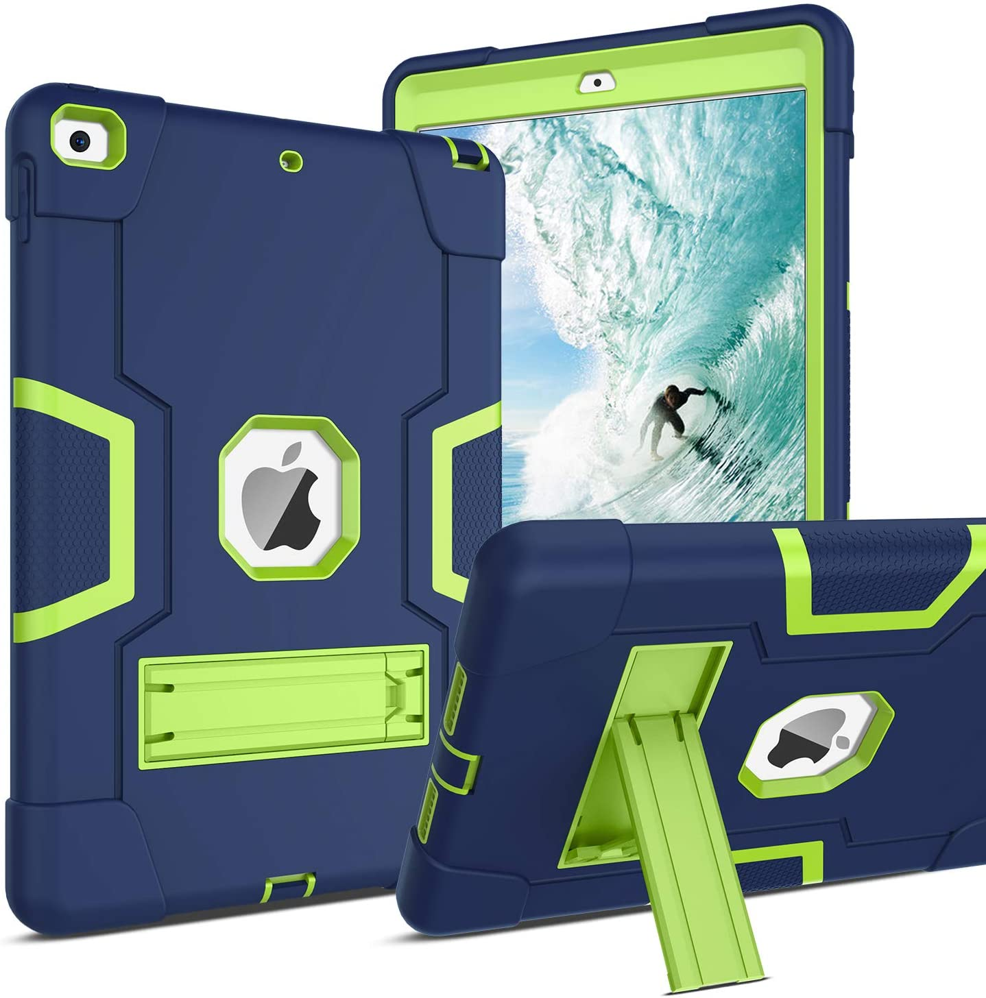 BENTOBEN iPad 7th Generation Case, New iPad 10.2 Case 2019, Hybrid Shockproof Case with Kickstand Rugged Shock Resistant Drop Proof Case Cover for iPad 10.2 inch, Navy Blue/Green