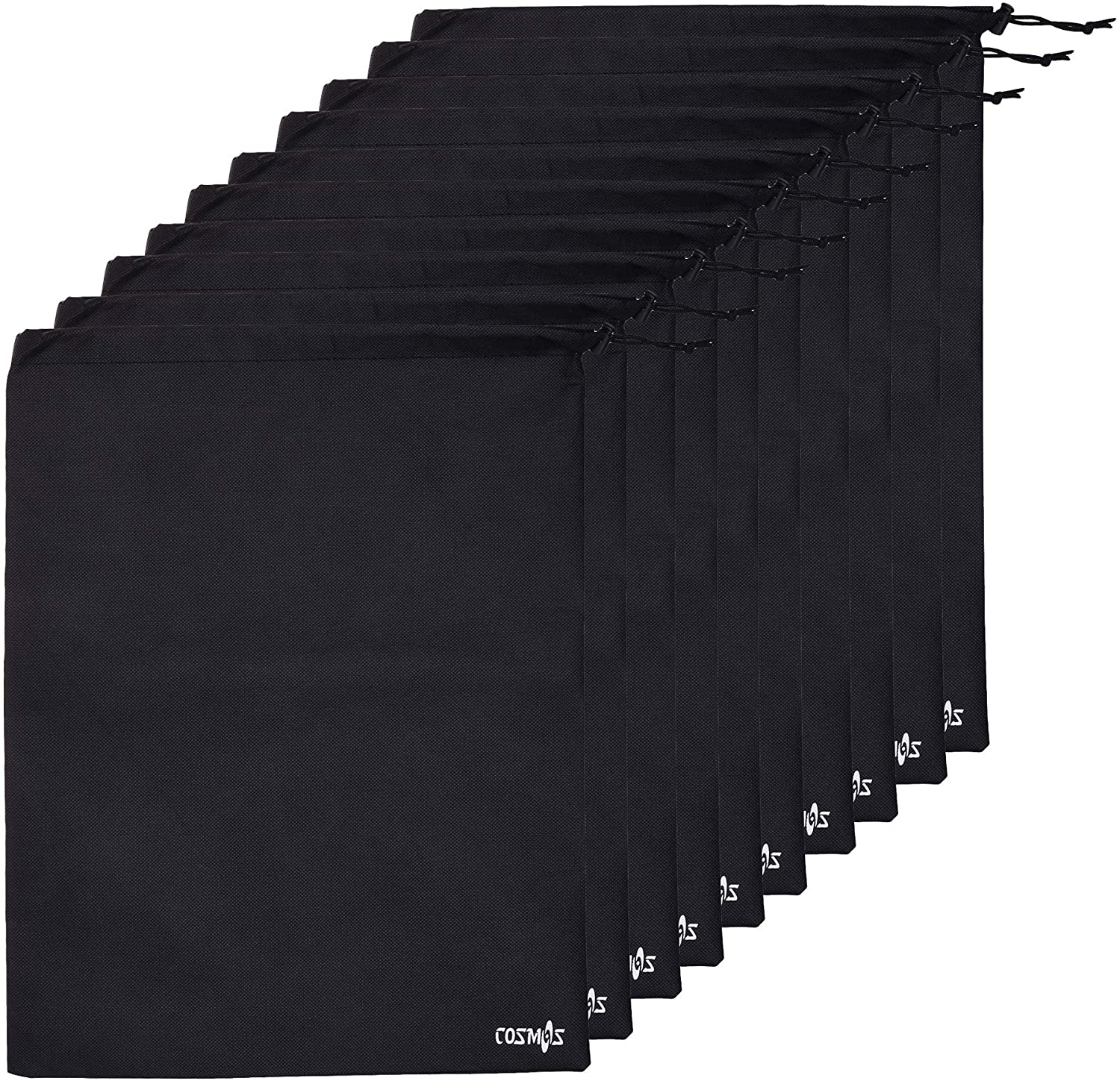 Cosmos 10 pcs Non-Woven Black Color Shoe Bag with drawstring for travel/carrying