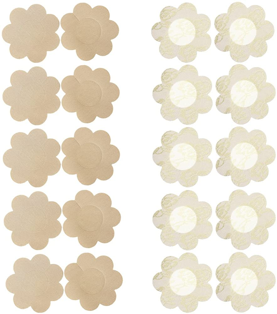 Ayliss 20pcs Nipple Covers Disposable Self-Adhesive Breast Petals Pasties