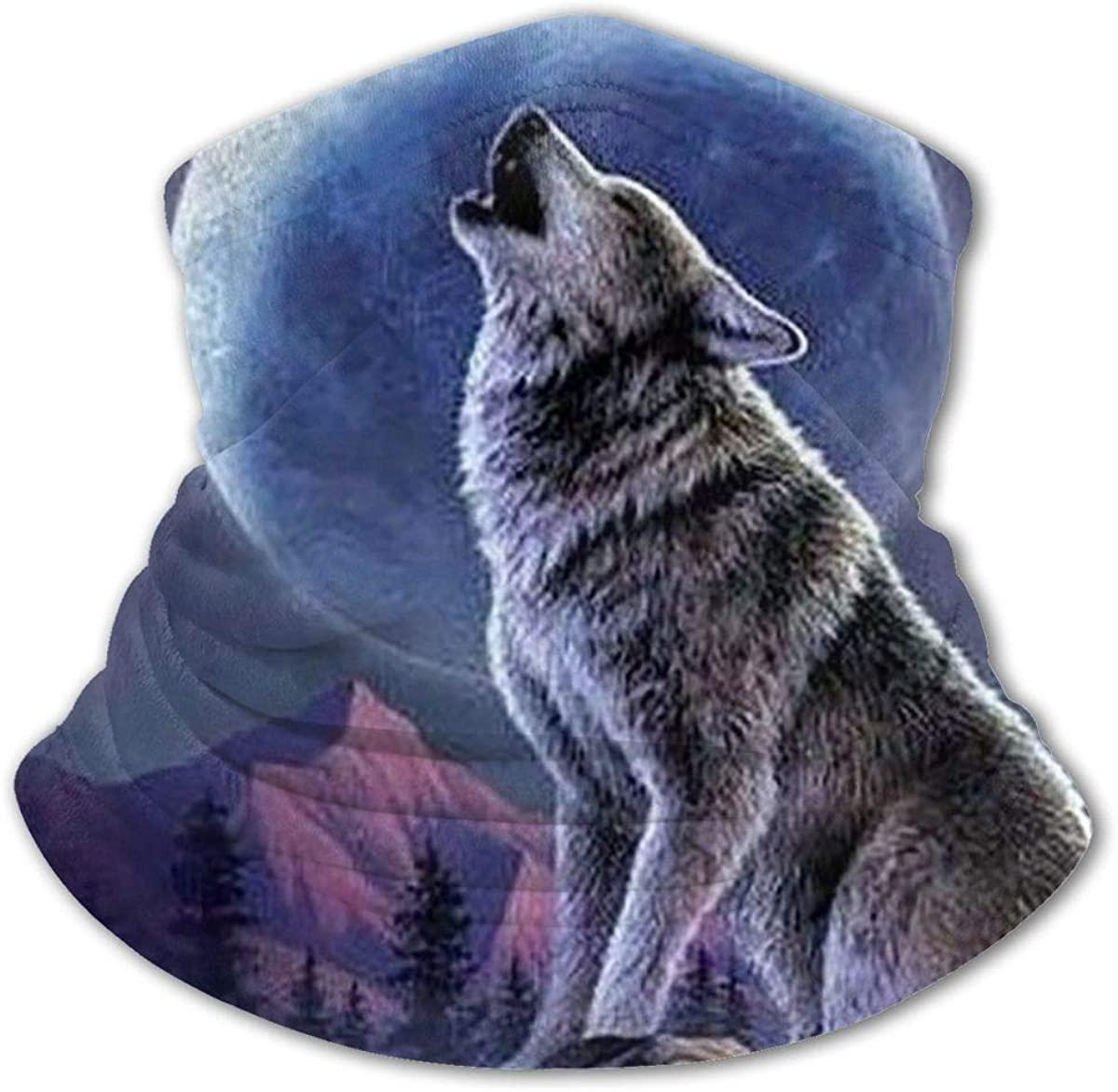 Wolf And Moon Headwear For Girls And Boys, Head Wrap, Neck Gaiter, Headband, Tenn Fishing Mask, Magic Scarf, Tube Mask, Face Bandana Mask For Camping Running Cycling