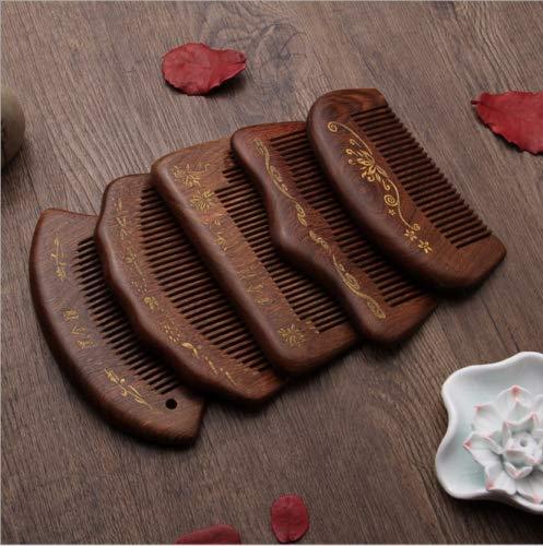 La Goldoo Black Gold Sandalwood Wood Comb Anti Static Head Massage Hair Care Tools